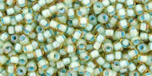 Toho Seed Bead 11/0 Round #338 Rainbow Light Topaz/Seafoam Lined 20gm