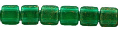 CzechMates 2-Hole 6mm Gold Marbled Green Emerald 50pc.