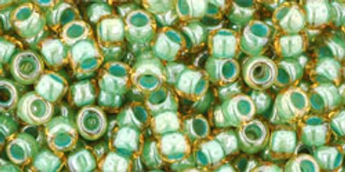 Toho Seed Beads 8/0 Rounds In-Topaz/Mint Julep Lined