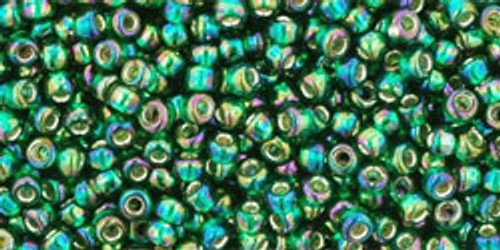 Toho Seed Beads 11/0 Rounds  #343 Silver Lined Rainbow Green Emerald 20 gram