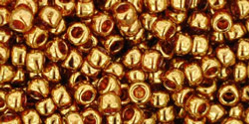 Toho Seed Beads 8/0 Rounds Gold-Lustered Transparent Pink