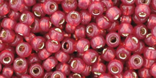 Toho Seed Beads 8/0 Rounds Silver Lined Milky Pomegranate 8 gram tube