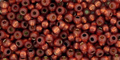 Toho Seed Beads Rounds 11/0 #350 Permanent Finish Silver Lined Milky Pomegranate 50gm