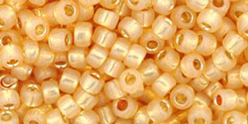 Toho Seed Beads 8/0 Rounds Silver Lined Milky Light Topaz