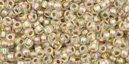 Toho Seed Beads 11/0 Rounds #114 Gold-Lined Rainbow Crystal 250g