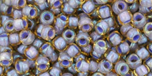 Toho Seed Beads 8/0 Rounds In-Light Topaz/Opaque Lavender Lined