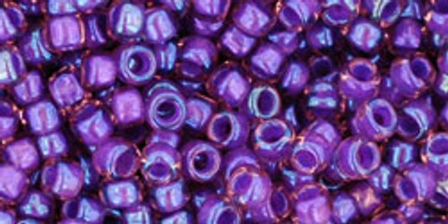 Toho Seed Beads 8/0 Rounds Rainbow Rosaline/Opaque Purple Lined 8 gram