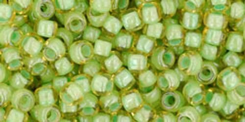 Toho Seed Beads 8/0 Rounds Inside-Color Jonquil/Mint Julep Lined