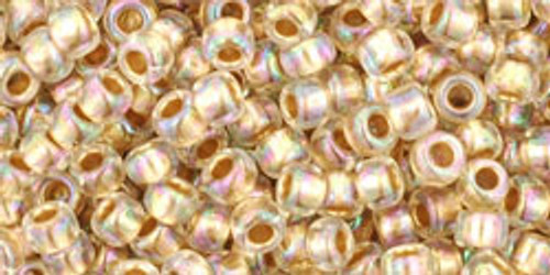 Toho Seed Beads 8/0 Rounds Gold-Lined Rainbow Crystal
