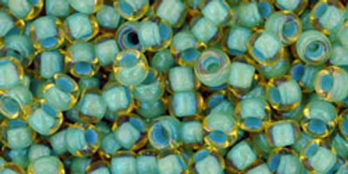 Toho Seed Beads 8/0 Round #126 Rainbow Light Topaz/Seafoam 20g