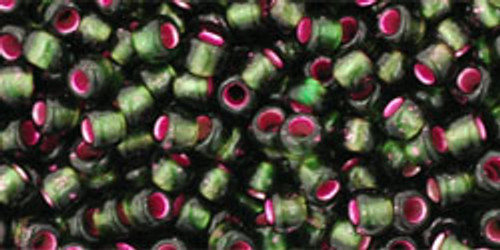 Beads 8/0 Rounds Silver-Lined Frosted Olivine-Pink Lined