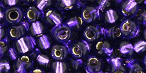 Toho Seed Beads 6/0 Rounds #14 Silver Lined Purple 20 gram pack