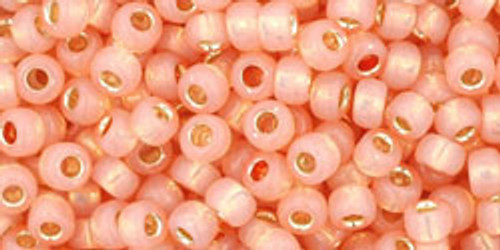 Toho Seed Beads 8/0 Round Silver Lined Milky Peach 8 gram tube