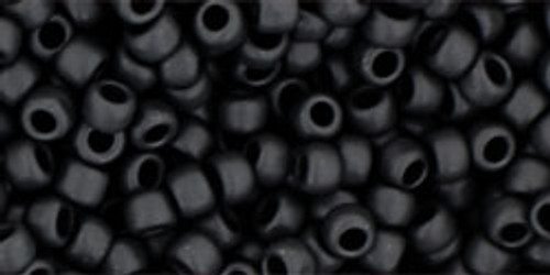 Toho Seed Beads 8/0 Rounds #135 Opaque Frosted Jet 20 Gram Pack-Beada Beada