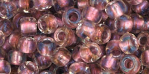Toho Seed Beads 6/0 Round #27 In Crystal Rose Gold Lined 50 gram