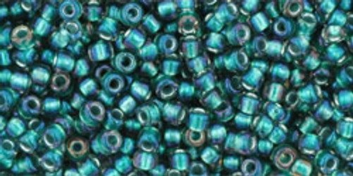 Toho Seed Bead 11/0 Round #300 In-Crystal/Prairie Green Lined 50 gm