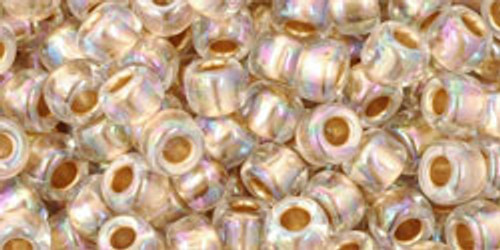 Toho Seed Beads 6/0 Round #30 Gold Lined Rainbow Crystal 50 gram