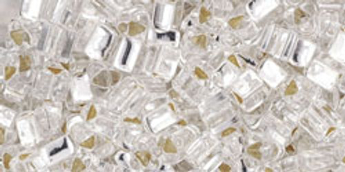 Toho Seed Beads 8/0 Triangles Silver Lined Crystal 8 Gram Tube