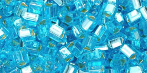 Toho Seed Beads 8/0 Triangles Silver Lined Aquamarine 8 Gram Tube