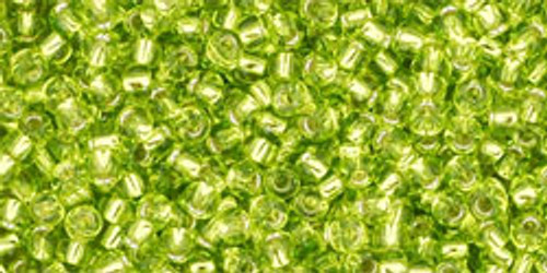 Toho Seed Beads 11/0 Rounds Silver-Lined Lime Green
