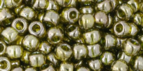 Toho Seed Beads 6/0 Round #44 Gold Lustered Green Tea 50 g. pack