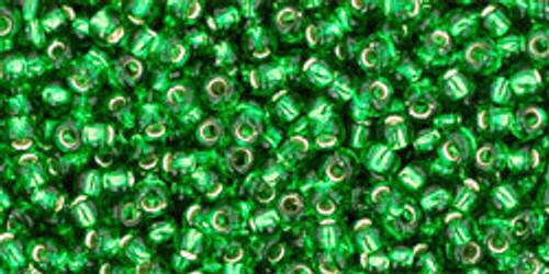 Toho Seed Beads 11/0 Rounds Silver-Lined Grass Green