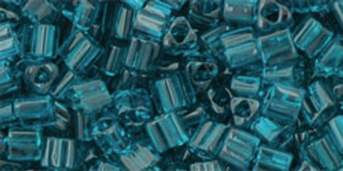 Toho Seed Beads 8/0 Triangle Transparent Frosted Teal 8 gram tube