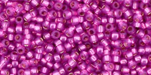 Toho Seed Beads 15/0 Round Silver Lined Milky Hot Pink 9 gram tube