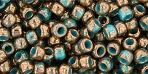 Toho Seed Beads 8/0 Round Gilded Marble Turquoise 8 Gram Tube
