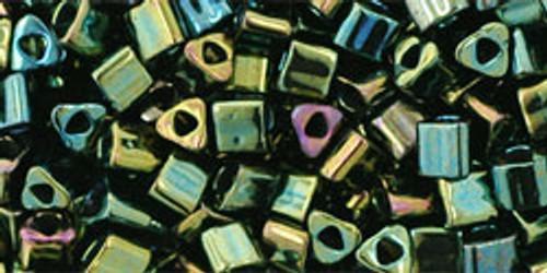 Toho Seed Beads 8/0 Triangle Metallic Iris Green Brown 8 gram tube