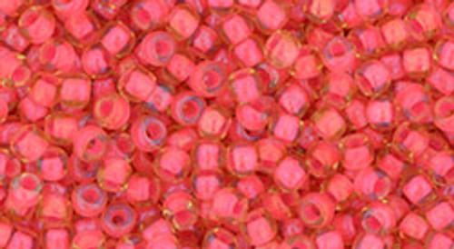 Toho Beads 8/0 Round #156 Luminous Light Topaz Neon Pink Lined 50g