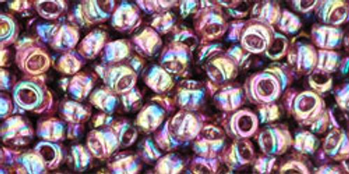 Toho Seed Beads 8/0 Round Transparent Rainbow Medium Amethyst 8g