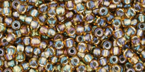Toho Seed Beads 11/0 Round Rainbow Topaz Olivine Lined 8 gram