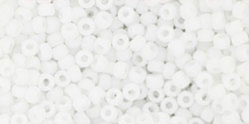 Toho Seed Beads 11/0 Round #395 Opaque Frosted White 50 gram
