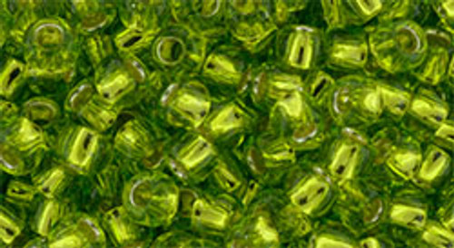 Toho Seed Beads 8/0 Round Silver Lined Lime Green 8 gram tube