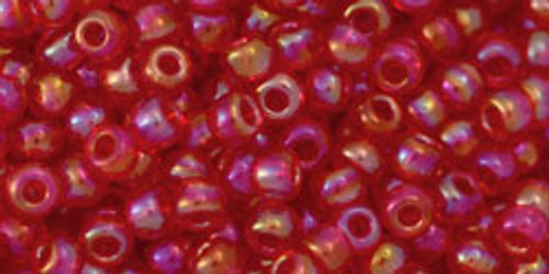 Toho Beads 8/0 Round #176 Transparent Rainbow Light Siam Ruby 20g
