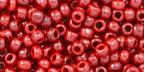 Toho Seed Beads 8/0 Round Opaque Lustered Cherry 8 gram tube