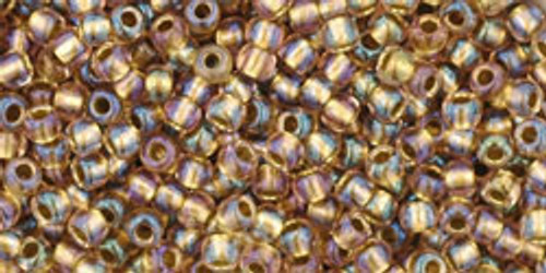 Toho Seed Beads 11/0 Round #398 Rainbow Crystal Gold Lined 250 gm