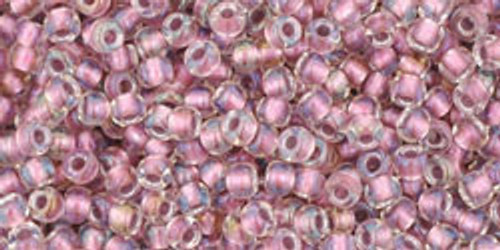 Toho Bulk Seed Bead 11/0 Round #201 Crystal/Rose Gold Lined 250 gm