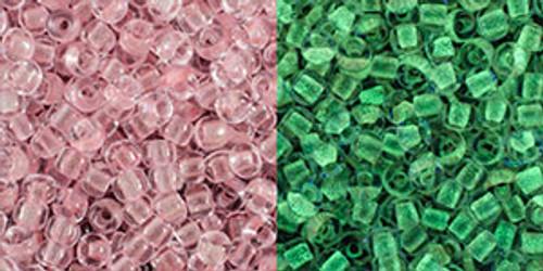 Toho Seed Beads 11/0 Round #405 Dark Pink Glow Green Pink 50 grams