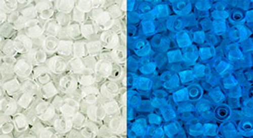 Toho Beads 8/0 Round #183 Glow In The Dark Crystal Bright Blue  20 gram