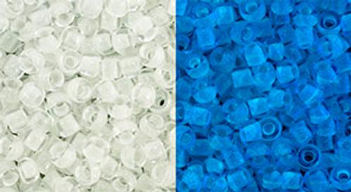 Toho Beads 8/0 Round #183 Glow In The Dark Crystal Bright Blue  50 gram