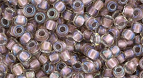 Toho Seed Beads 8/0 Rounds #193 In Crystal Rose Gold Lined 50 gram pack