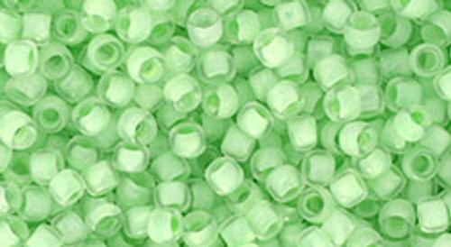 Toho Seed Beads 8/0 Round In Crystal Neon Sea Foam Lined 8 gram tube