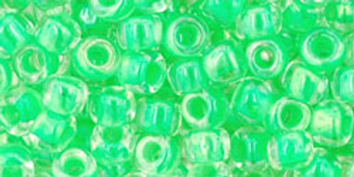 Toho Seed Beads 6/0 Round Luminous Neon Green 8 Gram Tube