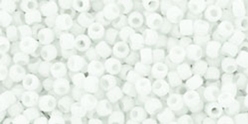Toho Seed Beads 15/0 Round Opaque Frosted White 8-9 gram tube