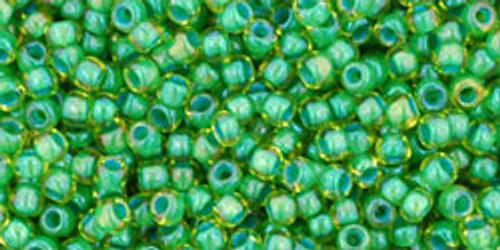 Toho Seed Bead 11/0 Round #417 In Lime Green Opaque Green Lined  20g