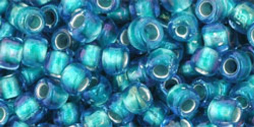 Toho Seed Bead 6/0 Round #80 Rainbow Crystal Green Teal Lined 20 gram