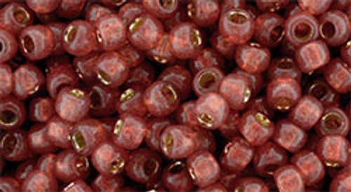 Toho Bulk Seed Beads 8/0 Round #208 Permanent Finish Silver Lined Milky Pomegranate 250 gram factory pack