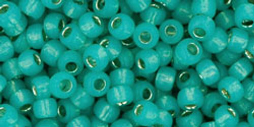 Toho Seed Beads 8/0 Round #217 Silver Lined Milky Teal 20 gram